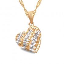 Złoty komplet diamentowane serce łańcuszek