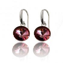 Kolczyki z  kryształami Swarovski®  w kolorze ciemnego różu