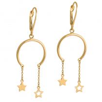 Złote kolczyki wiszące Gwiazdki