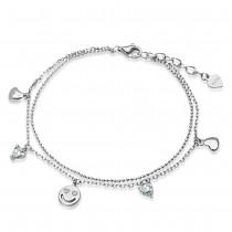 Czarująca srebrna bransoletka z zawieszkami