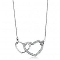Srebrny naszyjnik złączone serca
