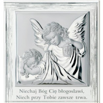 Srebrny obrazek Anioł Stróż Pamiątka Chrztu kwadrat w białej ramce