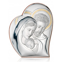 Okazały srebrny obrazek sakralny Święta Rodzina ze złoceniami Prezent Grawer GRATIS