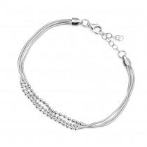 Elegancka srebrna bransoletka z kuleczkami