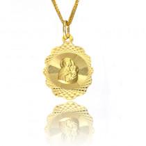 Złoty zdobiony medalik Matka Boska Częstochowska