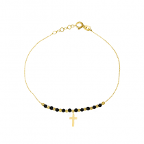 Złota bransoletka krzyżykiem i czarnymi kulkami z oksydowanego złota
