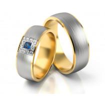 Obrączki ślubne żółte i białe złoto satynowane