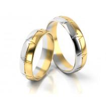 Obrączki ślubne dwukolorowe biało - żółte złoto