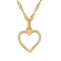 Złoty komplet diamentowane serduszko z łańcuszkiem