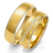 Obrączki ślubne ozdobione rzęden diamentów