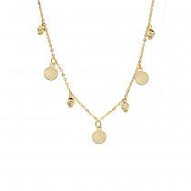 Złoty naszyjnik celebrytka z diamentowanymi kuleczkami