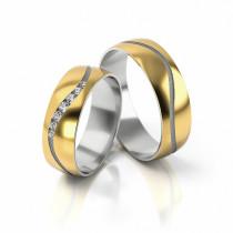 Obrączki ślubne z falą z białego złota i cyrkoniami półokrągłe