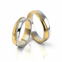 Ekskluzywne obrączki ślubne z białym złotem i cyrkoniami półokrągłe