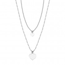 Srebrny naszyjnik serca na podwójnym łańcuszku