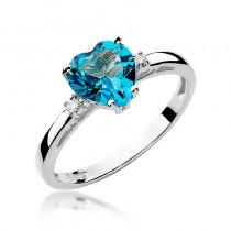 Uroczy pierścionek z topazem w kształcie serca i diamentami