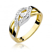Szykowny złoty pierścionek przeplatany białym złotem oraz ozdobiony diamentami