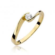Szykowny złoty pierścionek z okazałym brylantem