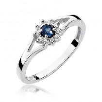 Elegancki złoty pierścionek z szafirem i diamentami