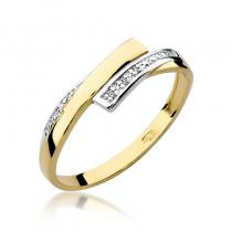 Niepowtarzalny złoty pierścionek z lśniącymi brylantami