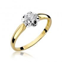 Wytworny złoty pierścionek zaręczynowy z brylantem