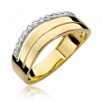 Elegancki złoty pierścionek wysadzany diamentami