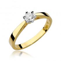 Uroczy złoty pierścionek zaręczynowy z brylantem