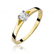 Okazały złoty pierścionek zaręczynowy z brylantem
