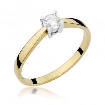 Oszałamiający złoty pierścionek zaręczynowy z lśniącym brylantem