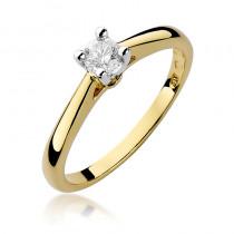 Elegancki złoty pierścionek zaręczynowy z brylantem