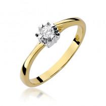 Niepowtarzalny złoty pierścionek zaręczynowy z lśniącym diamentem