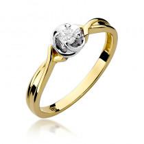 Śliczny zloty pierścionek zaręczynowy z brylantem