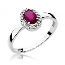 Uroczy zloty pierścionek zaręczynowy z rubinem i diamentami