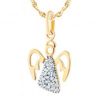 Niezwykła złota zawieszka aniołek z cyrkoniami
