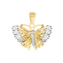 Złota zawieszka motylek z ażurowymi skrzydełkami i białym złotem