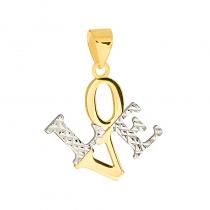 Złota zawieszka napis LOVE z białym złotem
