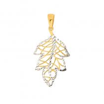 Złota zawieszka ażurowy listek białym złotem