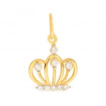 Złota zawieszka korona z cyrkoniami