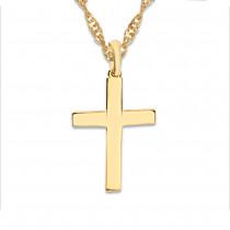 Klasyczny złoty komplet prosty krzyżyk z łańcuszkiem