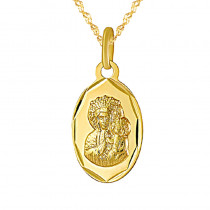 Złoty komplet łańcuszek z owalnym medalikiem