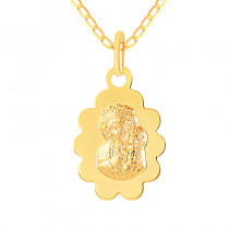 Złoty komplet łańcuszek i medalikiem z wizerunkiem Matki Boskiej
