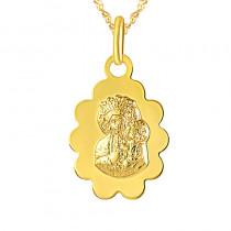 Złoty komplet łańcuszek z medalikiem Matka Boska