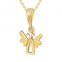 Złoty komplet Aniołek z cyrkonią łańcuszek