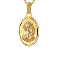 Złoty komplet łańcuszek z  medalikiem