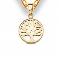 Złoty komplet zawieszka Drzewko Szczęścia z łańcuszkiem