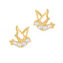 Złote kolczyki Jaskółki z cyrkoniami