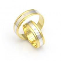Obrączki ślubne złote błyszczące z kamieniami