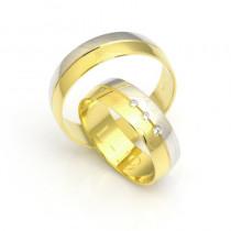 Obrączki ślubne klasyczne półokrągłe dwukolorowe