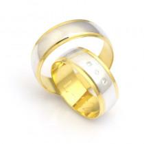 Złote obrączki ślubne półokrągłe szerokie