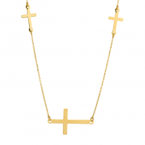 Złoty naszyjnik z trzema krzyżykami