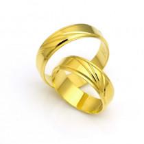 Obrączki ślubne z żółtego złota z atrakcyjnymi nacięciami